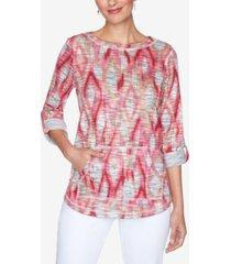 ruby rd. petite ikat-print pullover top