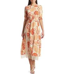 rebecca taylor women's back to back aleela smocked-sleeve midi dress - cream shell - size 38 (8)