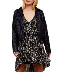 women's topshop lace-up crop faux leather jacket, size 2 us - black