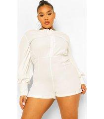 plus oversized romper blouse, ivory
