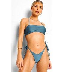 essentials bikini broekje met strikjes en v-inkeping, petrol
