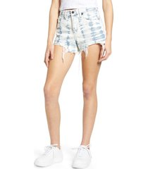 women's blanknyc the barrow tie dye denim shorts, size 24 - blue