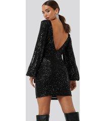 na-kd party open back mini sequin dress - black