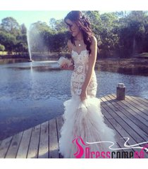 modest new mermaid sweetheart lace white wedding dress long evening/prom dresses