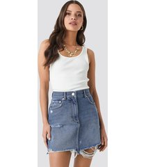 na-kd distressed denim mini skirt - blue