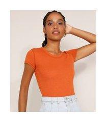 blusa feminina básica canelada manga curta decote redondo cobre