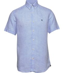 douglas ss linen shirt overhemd met korte mouwen blauw morris