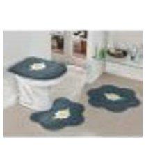 kit de banheiro cinza margarida 3 peças antiderrapante