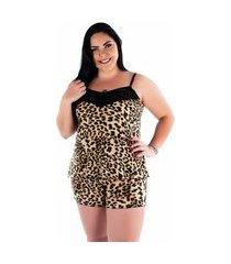 pijama curto plus size ayron pijama 306 feminino liganete - estampas sortidas