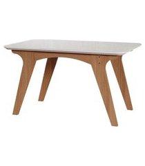 mesa de jantar retangular com tampo de vidro selena off white e nature 130 cm