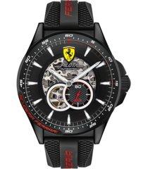 ferrari men's automatic chronograph pilota black silicone strap watch 45mm