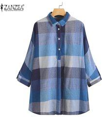 zanzea vendimia de las mujeres de manga larga solapa de tapas de la camisa a cuadros comprobar turn down cuello de la blusa -azul