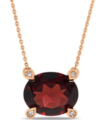 "garnet (3 ct. t.w.) and diamond accent 17"" necklace in 10k rose gold"