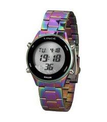 relógio digital lince feminino - sdm4639l iridescente