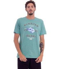 camiseta hawaiian dreams estampada varsity verde - kanui