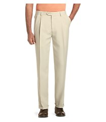 traveler collection performance traditional fit pleated front pants - big & tall by jos. a. bank