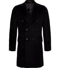 saul delux coat wollen jas lange jas zwart oscar jacobson