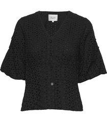 milly ss blouse blouses short-sleeved zwart second female