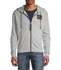 zip-front eagle-print hoodie