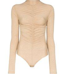 fantabody maria ruched bodysuit - gold
