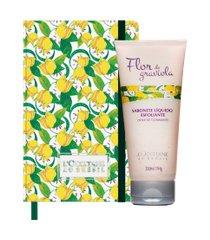 sabonete líquido esfoliante flor de graviola + caderno flor de graviola