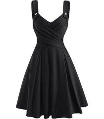 criss cross mock button sweetheart dress
