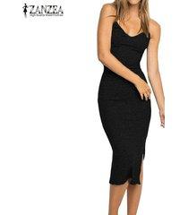 zanzea de gran tamaño 2018 mujeres sin respaldo sólido ocasional de split vestidos tirantes de espagueti v partido del cuello sin mangas elegante del vestido vestidos negro -negro
