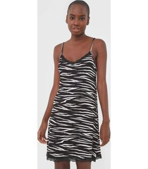 camisola malwee liberta curta zebra preta - preto - feminino - viscose - dafiti