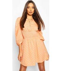 polka dot button shirred waist skater dress, peach