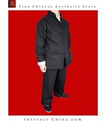 fine linen black kung fu martial arts tai chi uniform suit tailor custom made