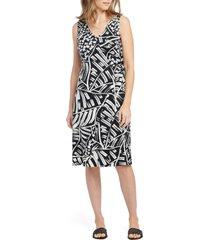 women's nic+zoe moonlit palms faux wrap dress, size x-large - black