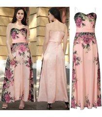 largo maxi floral gasa sin mangas sexy sin tirantes fiesta plisada vestidos verano pink02 playa de cintura alta vestido-pink02