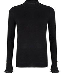 sweater siffon plisse zwart