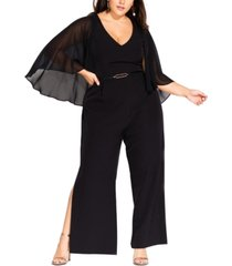 city chic trendy plus size sheer-cape belted jumpsuit