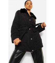gewatteerde jas met faux fur kraag en ceintuur, black