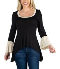 24seven comfort apparel women swing high low bell sleeve tunic top