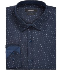 nine west men's slim-fit performance stretch dash arrow-print dress shirt