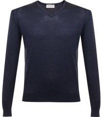 john smedley woburn navy knit v-neck jumper p06
