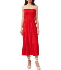 women's 1.state smocked strapless maxi dress, size x-small - red