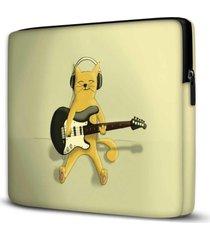 capa para notebook cat rock 15.6 e 17 polegadas - amarelo - dafiti