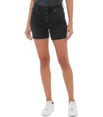 women's paige sarah high waist slim longline cutoff denim shorts, size 30 - black