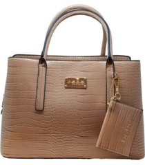bebe aubrey croco satchel with card case