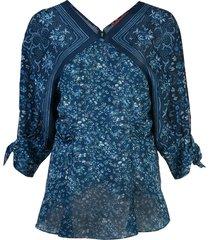 altuzarra silk bandana print blouse - deep teal