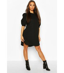 crew neck swing dress with puff sleeves, black