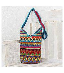 crocheted cotton bucket bag, 'wild colors' (guatemala)