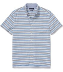 tommy hilfiger adaptive men's custom-fit seated hill stripe shirt with velcro closure