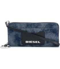 diesel allium denim zip-around wallet - blue