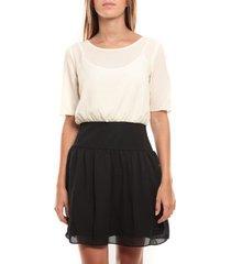 korte jurk vero moda minto 2/4 short dress 97759 blanc/noir
