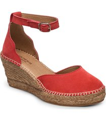 stb-salome ankle strap sandalette med klack espadrilles röd shoe the bear