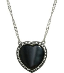 2028 silver-tone semi precious onyx heart necklace